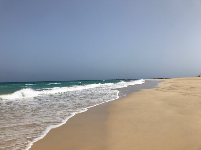 Wellen und Strand, dazu blauer Himmel